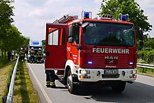 Brennt Wohnmobil auf der B 206